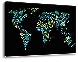 Wandbild von Kunstbruder - Instrumenten Weltkarte 10Tokyo SW (div. Größen) Bild fertig auf Keilrahmen / Kunstdruck auf Leinwand / Graffiti like Banksy Art Gemälde Leinwandbild (65x100cm)