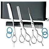 "Hairdressing Barber Salon Scissors 5.5"", Thinning Scissors 5.5"", Thinning Razors set. Polished"