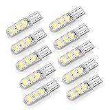 DEBEME 10 Stück Auto T10 W5W 168 194 3 W 6 LED Breite Licht Leselicht Kennzeichenbeleuchtung Seitenmarkierungsleuchten 5730SMD 6500K 12 V (Colour 2)