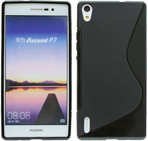 Huawei Ascend P7 // Silikon Hülle S-Line Tasche Case Zubehör Schale in Schwarz @ Energmix