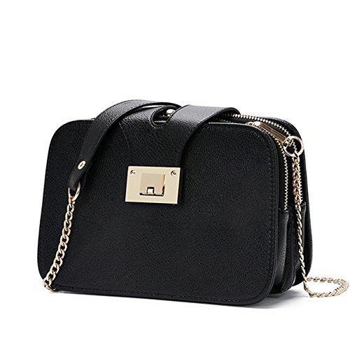 fanhappygo Fashion Retro Leder Diagonale Telefon Taschen Abendtaschen Damen Schulterbeutel Umhängetaschen schwarz