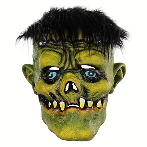 Halloween Horror Grün Gesicht Monster Maske Gruselig Teufel Maske Maskerade Latex Kopfbedeckung Partei Grün Schwarz Haar Zahn Scary ()