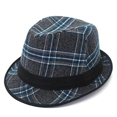 Lattice Hat Plaid Wool Hats Frühling und Herbst Winter New Unisex Woolen Hats Hut (Farbe : Blau, Size : 55-58cm) Plaid Wool Cap