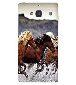 ColourCraft Amazing Horses Design Back Case Cover for XIAOMI REDMI 2S