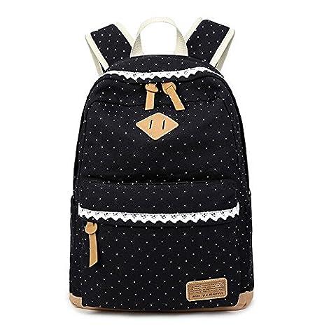Rechel Canvas School Bag, Folk Style Rucksack Backpack, Lightweight Large Capacity Outdoor Travel Leisure Backpack for Teen Girls Women, Polka Dot Design (Black-2)