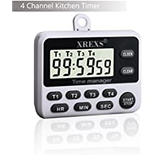4 Channels Digital Kitchen Timer Clock - XREXS Cooking Timer with Large LCD Display, 4 Groups Simultaneous Timing Count Down up Pocket Timer, Magnetic Attachable (Battery Included)