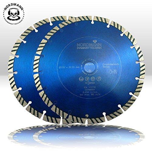 """Preisvergleich Produktbild 2x Diamanttrennscheibe """"NORDMANN N-10"""" Ø 230 mm für Beton, Stahlbeton, Klinker, Ziegel etc."""