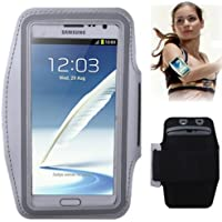 TechExpert Brassard tour de bras gris pour Samsung Galaxy Note 2/II N7100 idéal pour les sportifs, course à pied ou salle de sport, pochette pour clé et trous pour écouteurs.