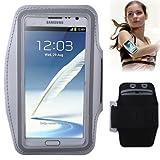 TechExpert - Fascia da braccio porta smartphone, ideale per attività sportiva (corsa o palestra), con tasca per chiavi e passanti per cuffie Per Samsung Galaxy S3 - S4/S4 mini - Note - Note2 - iPhone 4/4S - 5/5S. Galaxy Note 2 grigio