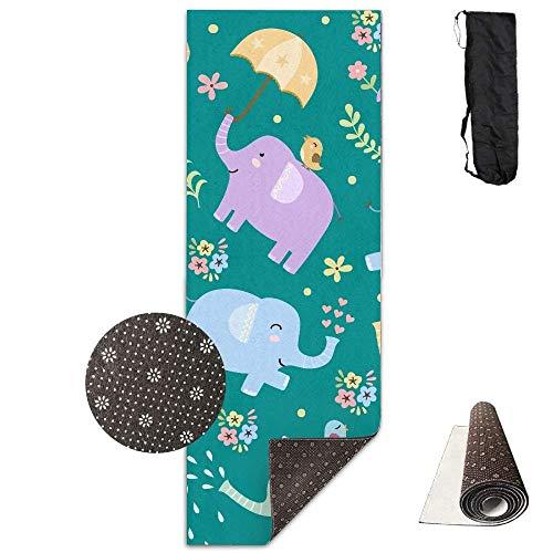 Vercxy - Esterilla de Yoga con diseño de pájaros y Elefantes de...