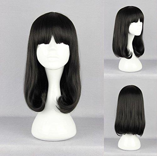 Ladieshair Cosplay Perücke schwarz glatt mit Pony ca. 40cm
