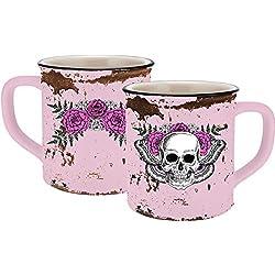 Infinite by GEDA LABELS (infkh) 13659Lady Skull esmalte aspecto de cerámica, color rosa