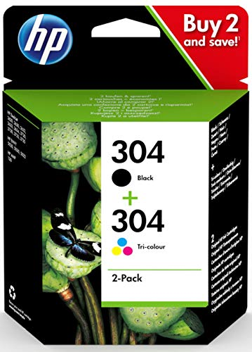 HP 3JB05AE 304 Original Ink Cartridges, Black and Tri-Colour, Pack of 2