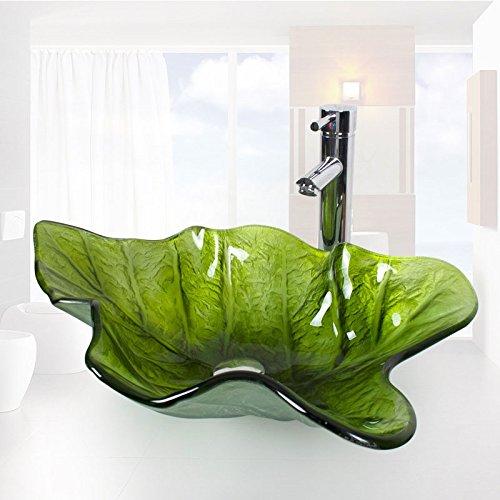 Homelava Modern Gehärtetes Glas Waschbecken Blatt Design mit Ablaufgarnitur, Montagering (Grün)