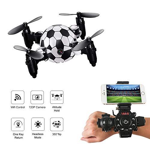 Mini Drone con Telecamera, Pieghevole RC Drone WIFI FPV Mini Quadcopter per Adulti Principianti Bambini (Stabile in bilico + Altitudine in attesa + Rotazioni di 360 gradi + Modalità senza testa)