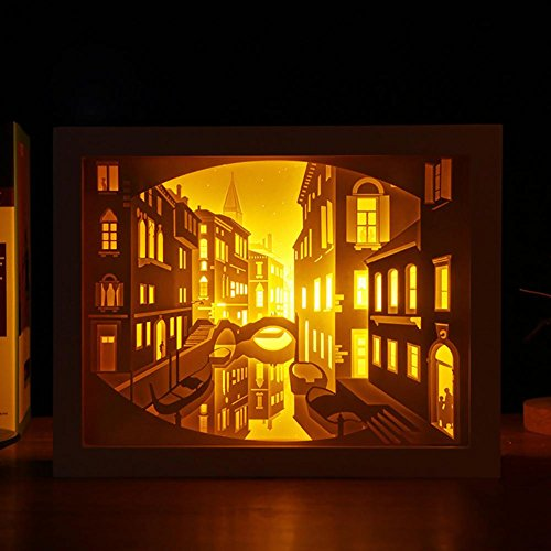 Neuheit LED Venedig-Fernsteuerungs USB-3D Stereolampe-Papier-Skulpturlampe Nachtlicht, wood