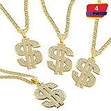 4 Piezas de Cadena Chapada de Oro para Hombres con Signo de Dólar Collar con Colgante de Hip Hop (Collar de Dólar 4 Piezas)
