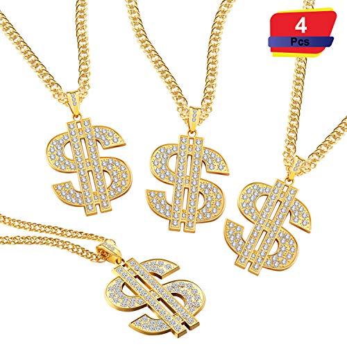 Kette für Männer mit Dollarzeichen Anhänger Halskette, Hip Hop Dollar Halskette (Dollar Halskette 4 Stück) ()