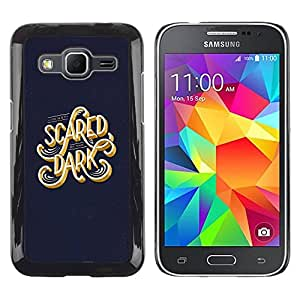 schwer Beschützer Prämie Slim Dünn Schutz Hülle Tasche Slim Case Armor PC Aluminium Spiegel Fü Samsung Galaxy Core Prime SM-G360 /Scared Dark Blue Gold Text Calligraphy/ STRONG