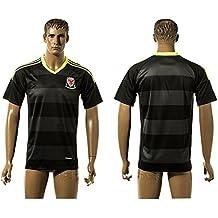 2016UEFA Euro Cup Wales DIY Name Away Jersey in Schwarz Grau gestreift Größe L schwarz - schwarz