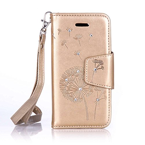 iPhone 6S Plus Hülle,iPhone 6 Plus Hülle,Ekakashop iPhone 6 Plus / 6S Plus PU Leder Wallet Case Schutzhülle Flip Bookstyle Magnative Cover Lederhülle,Soft Painted Rote Löwenzahn Muster Protection Schu Golden Löwenzahn