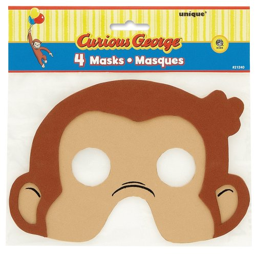 Image of Curious George 4-Pack Party Foam Masks