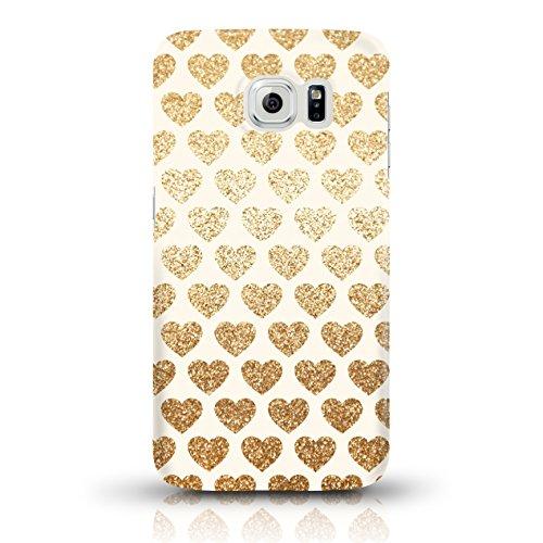 """JUNIWORDS Handyhüllen Slim Case für Samsung Galaxy S7 - Motiv wählbar - """"Anker Design 1 Dunkelblau"""" - Handyhülle, Handycase, Handyschale, Schutzhülle für Ihr Smartphone Goldene Glitzer-Herzchen"""