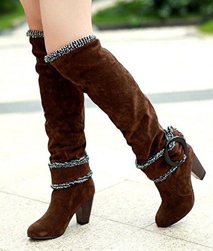 Snow Boots Große Größe 34,5-41,5 Platz High Heels Knee High Winter-Schuhe für Frauen Sexy Warm Pelz Schnalle Fashion Boots Braun