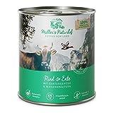 Müllers Naturhof | Rind und Ente | 6 x 800 g | Nassfutter für alle Hunderassen | getreidefrei und glutenfrei | mit Gartengemüse und Wiesenkräutern | naturnahe Rezeptur mit 65% Fleisch