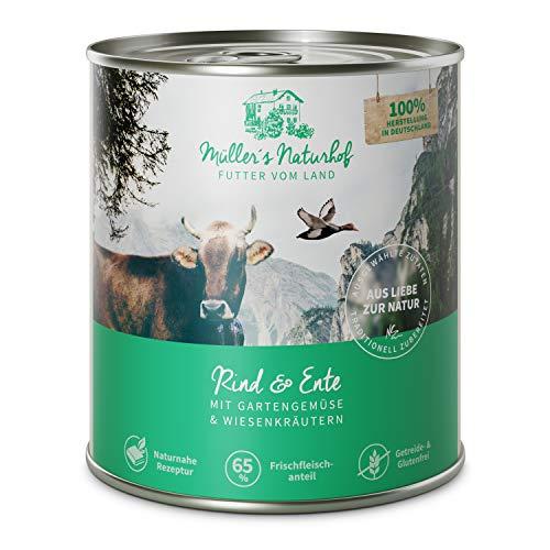 Müllers Naturhof | Rind und Ente | 6 x 800 g | Nassfutter für alle Hunderassen | getreidefrei und glutenfrei | mit Gartengemüse und Wiesenkräutern | naturnahe Rezeptur mit 65{a9d9708aebf43998ded23271006d12c121a02e6af4405e10859fb157bcc98b24} Fleisch