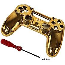 Timorn Reemplazo Cromado Vivienda Shell Piezas Case Kit Cubierta para PS4 Controlador DualShock 4, Oro
