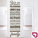 DESIGNSCAPE® Wandtattoo We are family (almost perfect) - Englischer Wandspruch für die ganze Familie 40 x 140 cm (Breite x Höhe) pink DW801356-M-F28