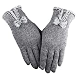 GLOUPER Touchscreen Handschuhe Damen Winter Dicke Warme Handschuhe Kaschmir Drinnen Draußen Radfahrenhandschuhe, Motorradfahrenhandschuhe, Mountainbikehandschuhe (Grau)