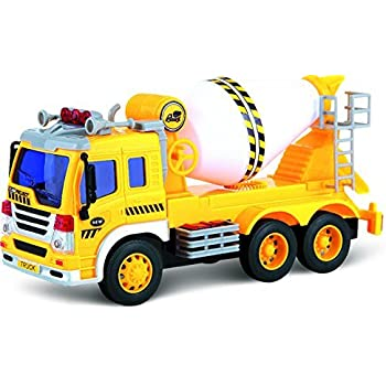 Push And Go Cement Mixer Toy Truck With Lights & Sound - Friction Push Along Toy For Boys Aged 3+ By ThinkGizmos (Trademark Protected)
