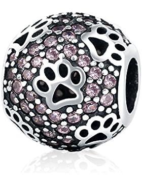 Christmas Gifts Cat Dog Paw Print Animal 925Sterling Silber Rosa CZ Charms Pet passend für Armbänder Halskette...