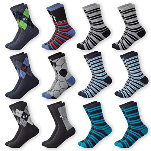 Mctam Mctam Jungen Socken Herren 12er Pack 90% Baumwolle Mix Motiv, 19-22, 12x Jungen Lang 1