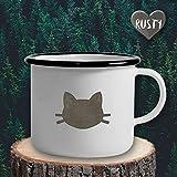 The Manufacture Katzenkopf Katze Haustier Tier Emaille Becher Tasse als Geschenk, weiß Outdoor Ausrüstung