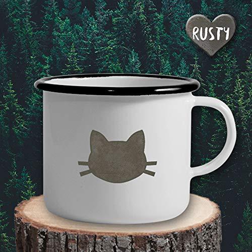 The Manufacture Katzenkopf Katze Haustier Tier Emaille Becher Tasse als Geschenk, weiß Outdoor Ausrüstung - Ausrüstung Emaille