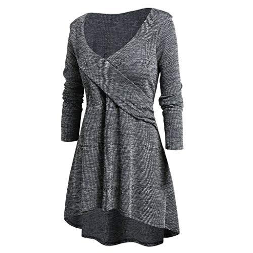 Beyove Damen Kleid Weit Gestreiftes Lose Gerades Lange /Ärmel Frau Freizeit Tunika Swing Kleider T-Shirt Kleid Boho Kleider Weich Bequem