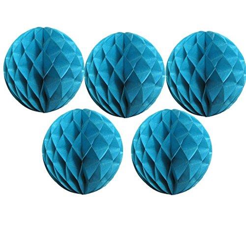 chenu-sin 5er-Pack 15,2 cm/20,3 cm/25,4 cm/30,5 cm/30,5 cm Seidenpapier-Pompons, Wabenball-Laterne für Hochzeits-Party-Dekorationen, Papier, blau, 20,32 cm (8 Zoll)