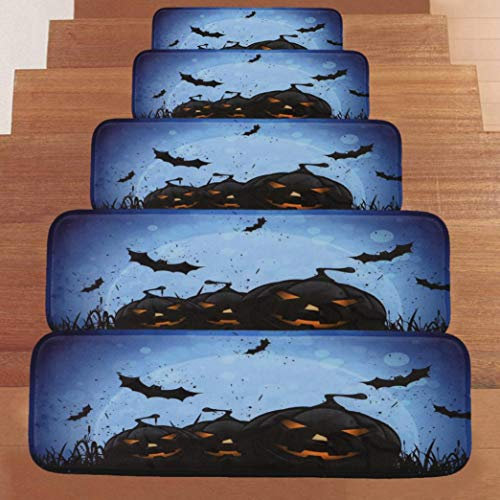 VEMOW Halloween Party Horror Dekoration 1 Satz StepBasic Rutschfeste Korallen Fleece Beständig Teppich Stair Mat 22cmx70cm(Schwarz, 22cmx70cm)