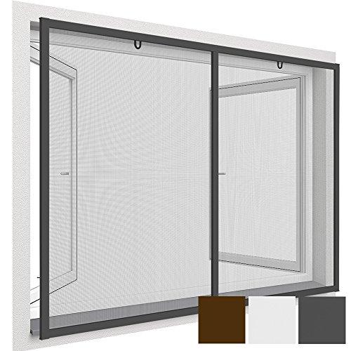 easy life Insektenschutz-Fenster Comfort XXL 150 x 220 cm proLINE Fliegengitter mit Alu-Rahmen für französische Fenster kürzbar ohne Bohren & Schrauben mit Dichtungsbürste, Farbe:Anthrazit