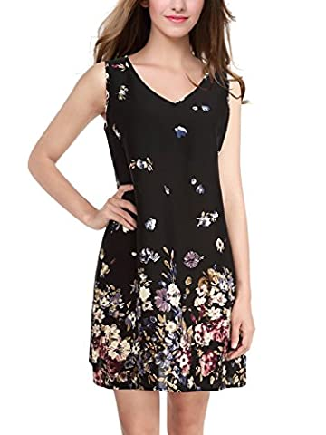 BAISHENGGT Femme Robe Imprime avec bretelles Trapeze Sans manche Noir 2 S