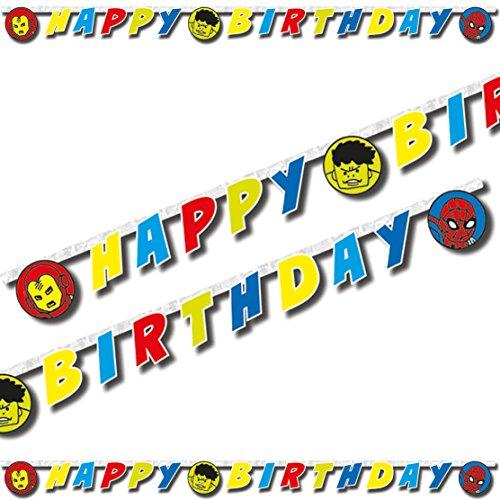 2m Happy-Birthday-Partykette * AVENGERS TEAM POWER * als Deko für Kindergeburtstag oder Mottoparty // Neu 2018 // Marvel Kinder Geburtstag Motto Party Letter Banner Girlande (Avengers Geburtstag Banner)
