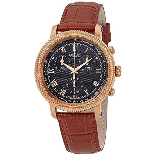 Charmex Men's President II 42mm Brown Leather Band Quartz Blue Dial Watch 2988