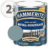 Hammerite Metall Schutzlack Hammerschlag-Effekt Rostschutz metallblau Sparpaket, 2 x 750ml