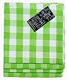 Homescapes – Quatre – Serviettes de Table à Carreaux – Carreau Vert et Blanc – 100% Coton – 18 x 18 Pouces (45 x 45 cm) Serviette de Table Tissé à la Main Facile à Entretenir – Lavable à 60 Degrés Centigrade