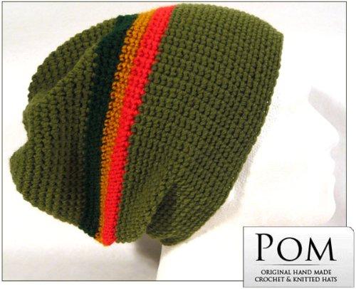 Crochet Berretto Cappello: cachi verde/rosso/oro/verde