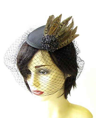 cage-a-oiseaux-noir-voile-marron-faisan-plumes-cheveux-courses-vintage-1461-exclusivement-vendu-par-