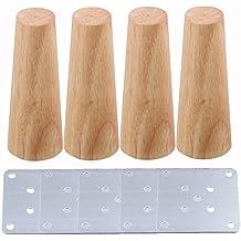 BQLZR - Paquete de 4patas cónicas de repuesto para sofás, sillones y otros muebles. Color madera, 15x 5,8x 3,8cm
